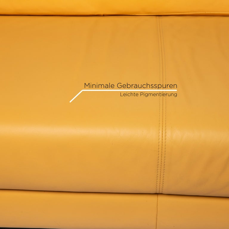 German Rolf Benz Leather Sofa Yellow Three-Seat Couch