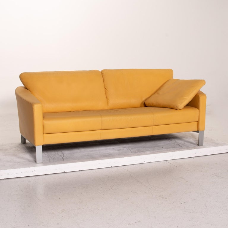 Contemporary Rolf Benz Leather Sofa Yellow Three-Seat Couch