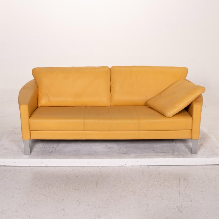 Rolf Benz Leather Sofa Yellow Three-Seat Couch 1