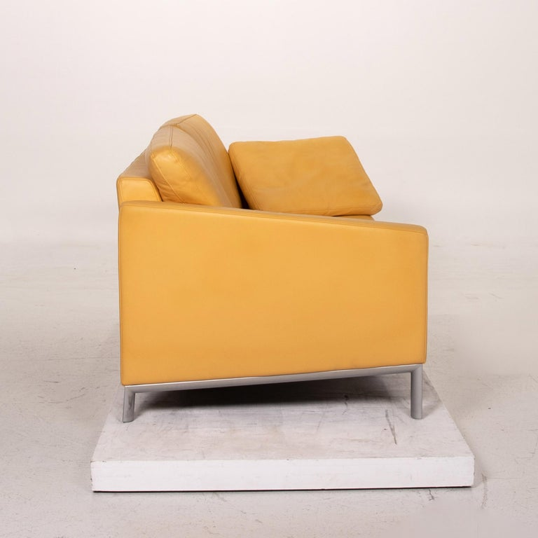 Rolf Benz Leather Sofa Yellow Three-Seat Couch 2
