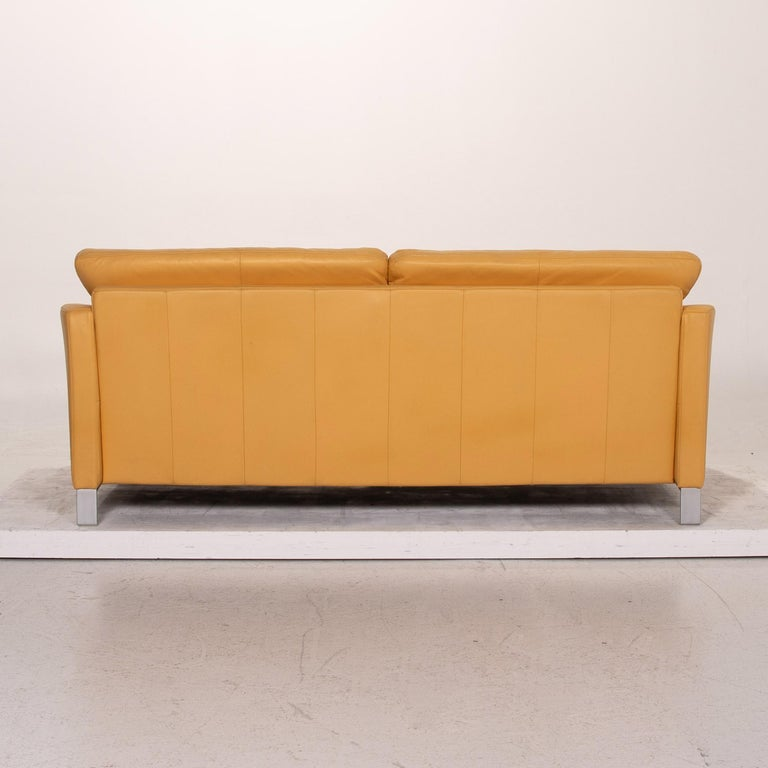 Rolf Benz Leather Sofa Yellow Three-Seat Couch 3
