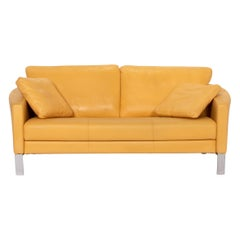 Rolf Benz Leather Sofa Yellow Two-Seat Couch