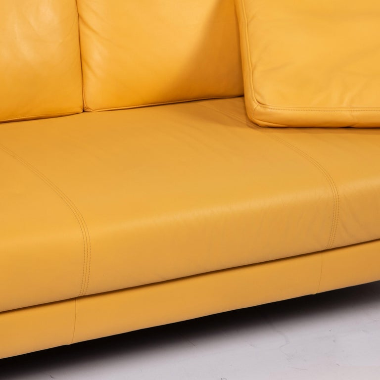 Modern Rolf Benz Leather Sofa Yellow Two-Seat Couch