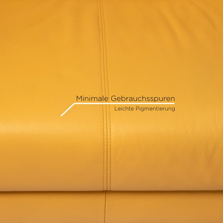German Rolf Benz Leather Sofa Yellow Two-Seat Couch