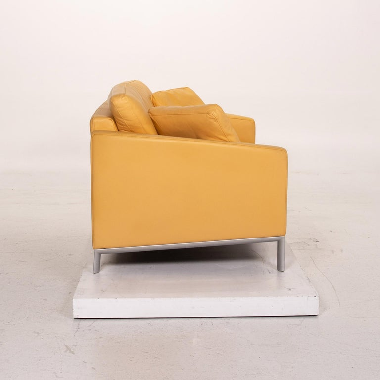 Rolf Benz Leather Sofa Yellow Two-Seat Couch 1