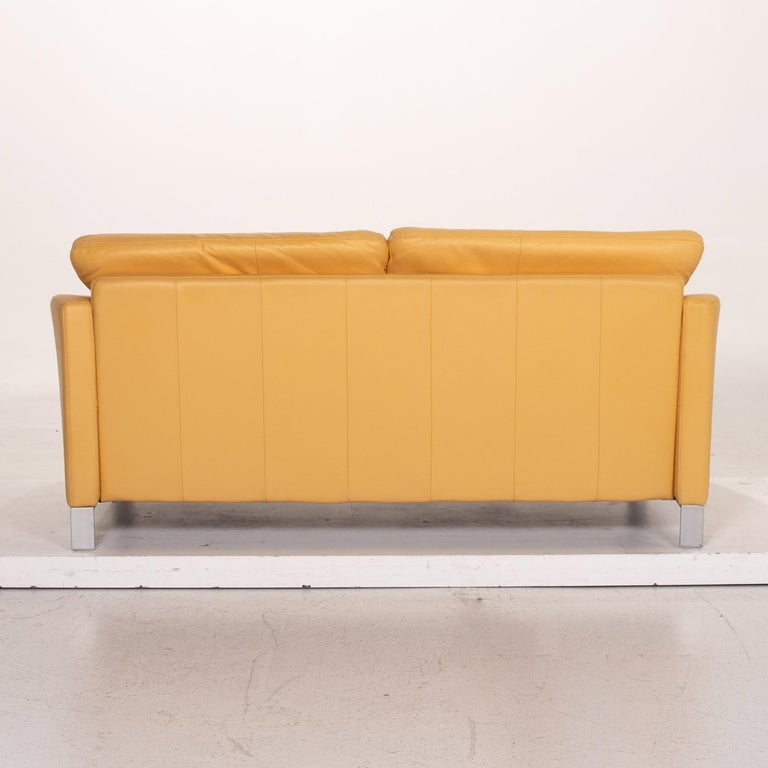Rolf Benz Leather Sofa Yellow Two-Seat Couch 2
