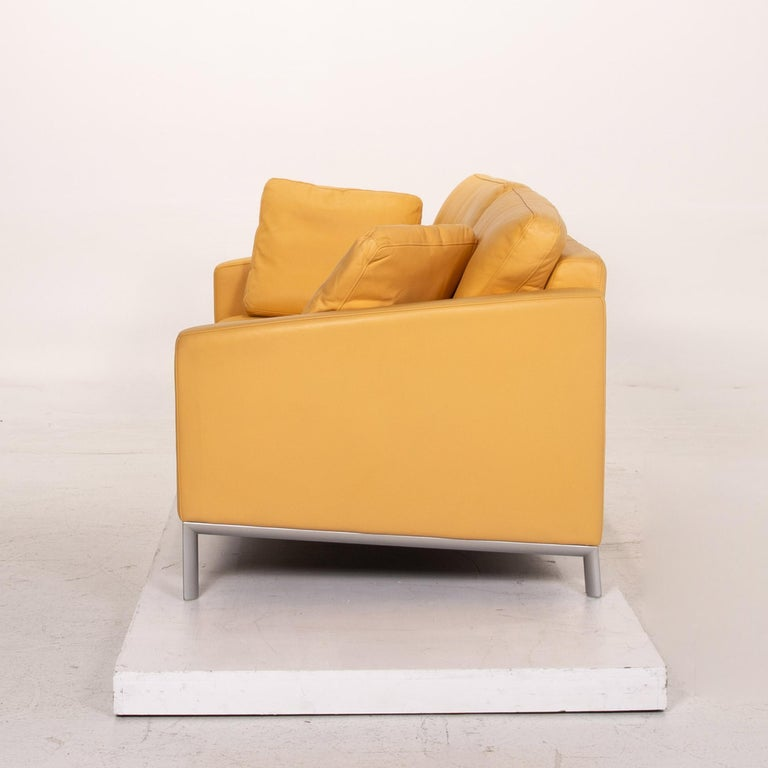 Rolf Benz Leather Sofa Yellow Two-Seat Couch 3