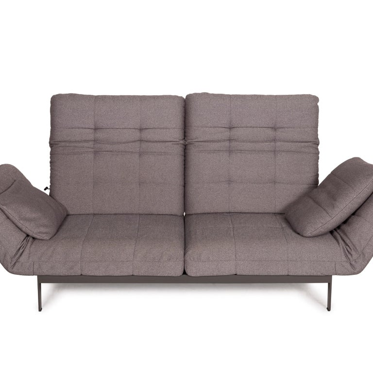 Rolf Benz Mera Fabric Sofa Two-Seater Sofa Fabric Gray Function For Sale 6