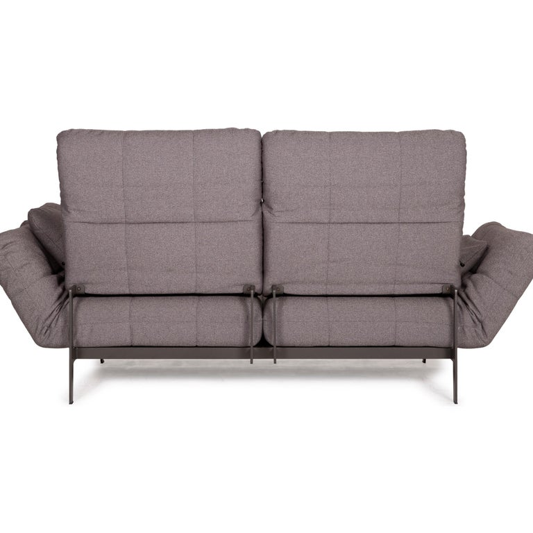 Rolf Benz Mera Fabric Sofa Two-Seater Sofa Fabric Gray Function For Sale 8
