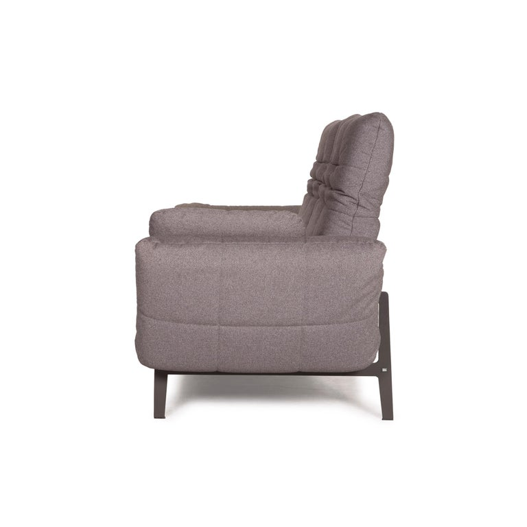 Rolf Benz Mera Fabric Sofa Two-Seater Sofa Fabric Gray Function For Sale 9