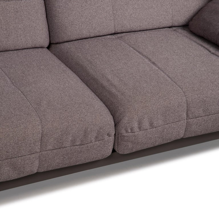 German Rolf Benz Mera Fabric Sofa Two-Seater Sofa Fabric Gray Function For Sale