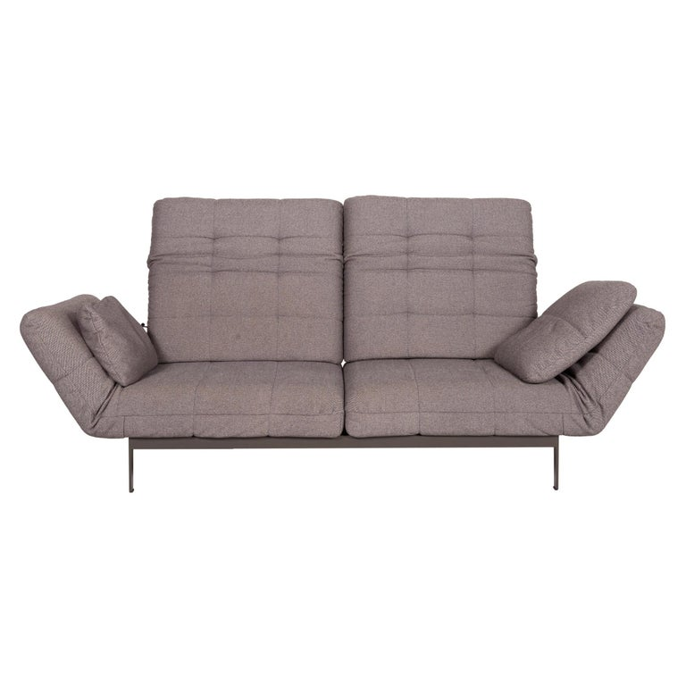 Rolf Benz Mera Fabric Sofa Two-Seater Sofa Fabric Gray Function For Sale