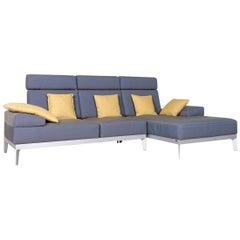 Rolf Benz Molto Designer Sofa Blue Fabric Corner Couch