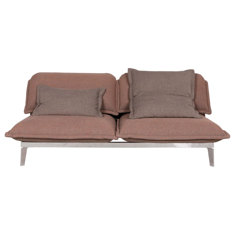 Rolf Benz Nova Designer Fabric Sofa Brown Three Seat Couch Function