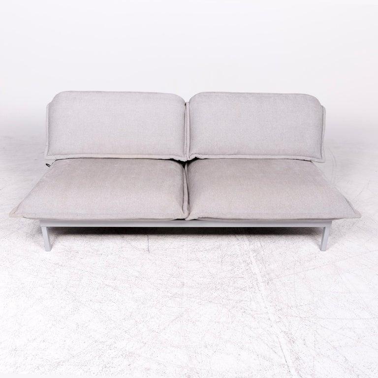 Rolf Benz Nova Designer Fabric Sofa Gray Genuine Leather ...