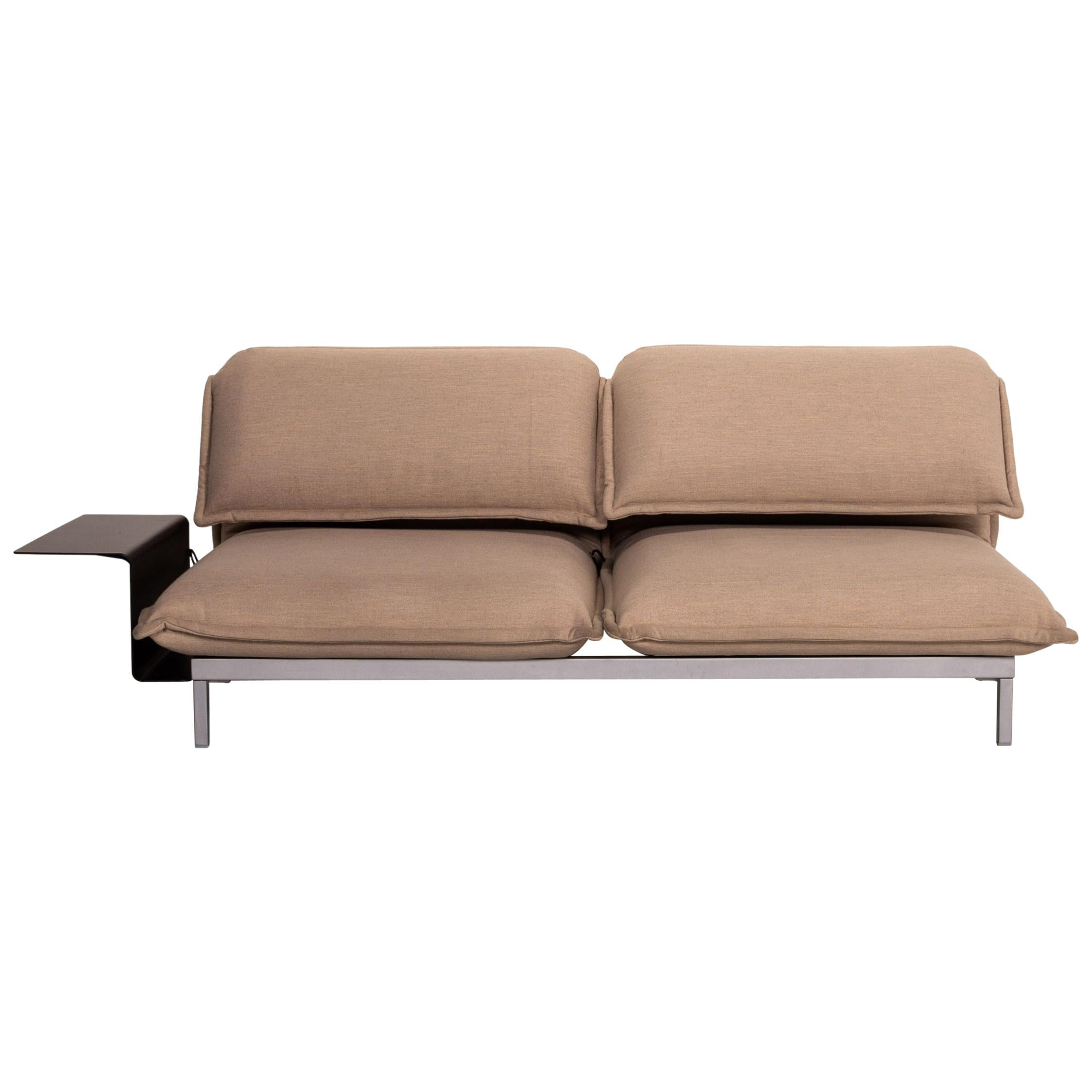 Rolf Benz Nova Fabric Sofa Beige Sleeping Function Relaxation Function Sofa Bed