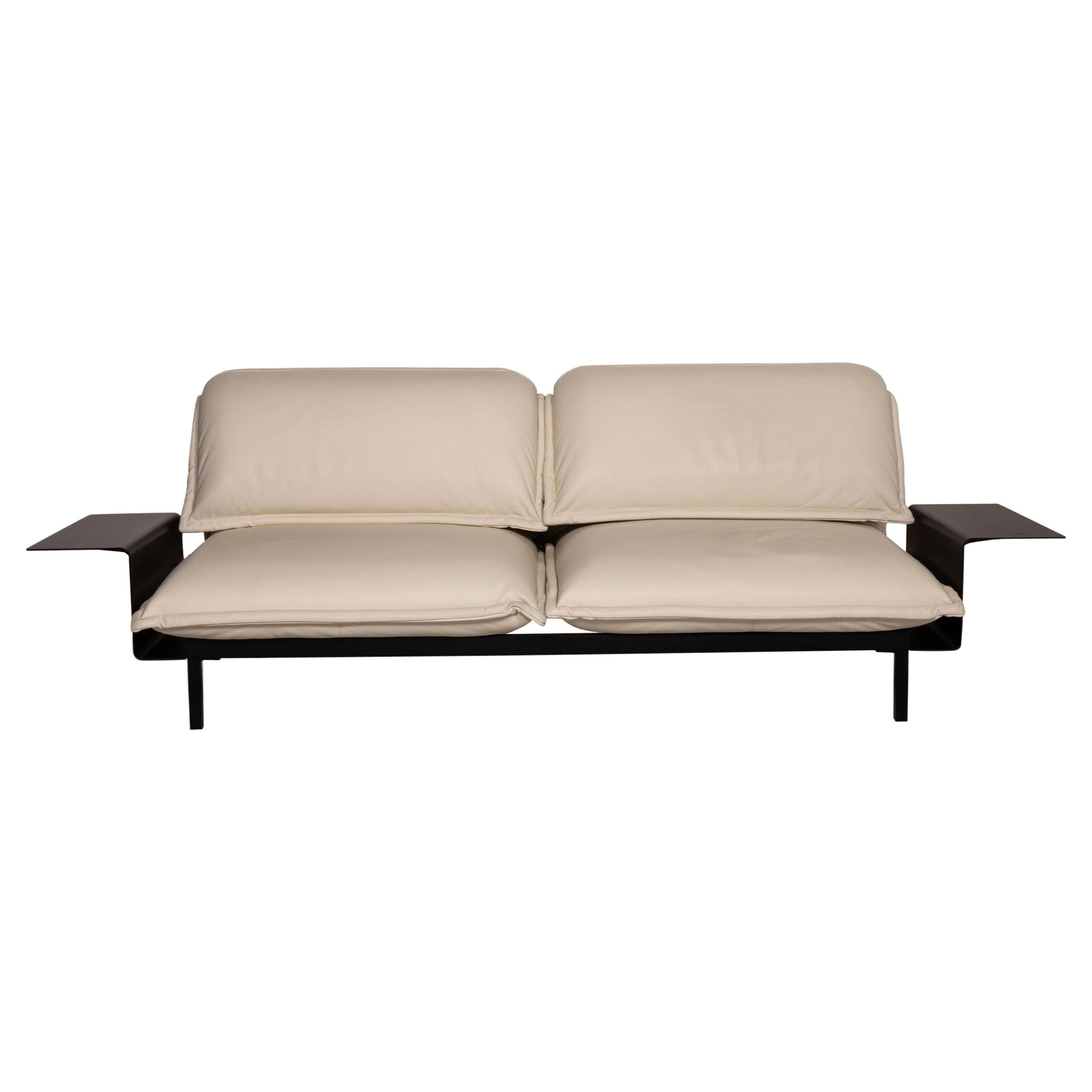 Rolf Benz Nova Two-Seater Sofa Cream Leather Function Couch