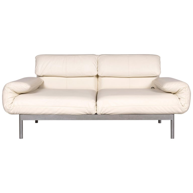 Rolf Benz Plura Designer Leather Sofa Cream Real Leather Two-Seat Couch