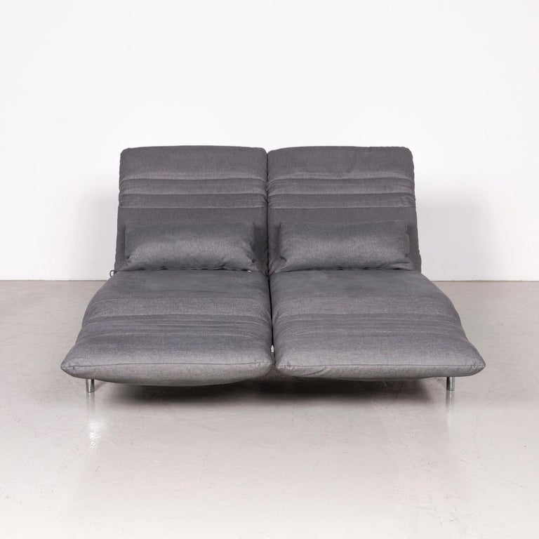 Contemporary Rolf Benz Plura Designer Sofa Fabric Grey Relax Function Couch Modern