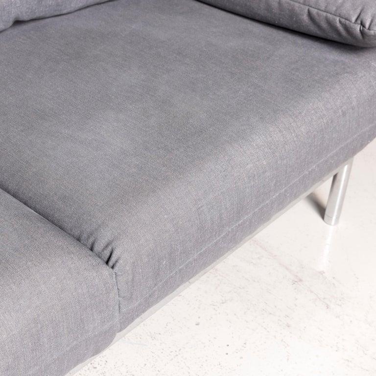 Rolf Benz Plura Designer Sofa Fabric Grey Relax Function Couch Modern 3