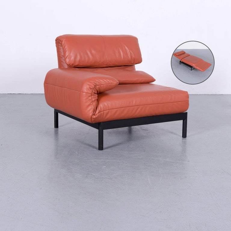 Rolf Benz Plura Designer Sofa Leather Orange Yellow Red Armchairs 10