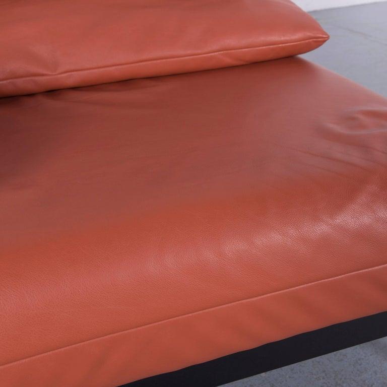 Rolf Benz Plura Designer Sofa Leather Orange Yellow Red Armchairs 12