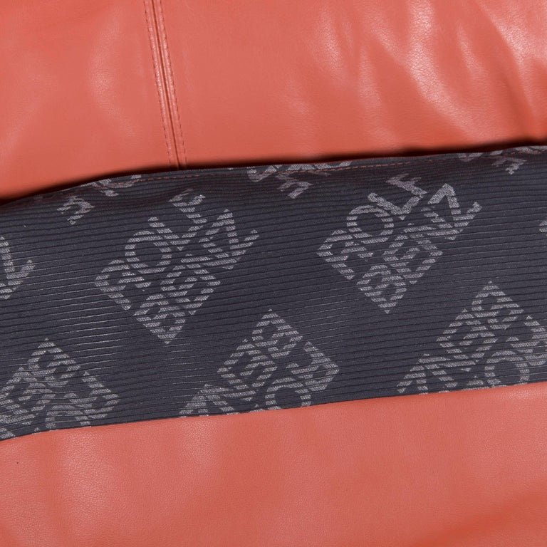 Rolf Benz Plura Designer Sofa Leather Orange Yellow Red Armchairs 13