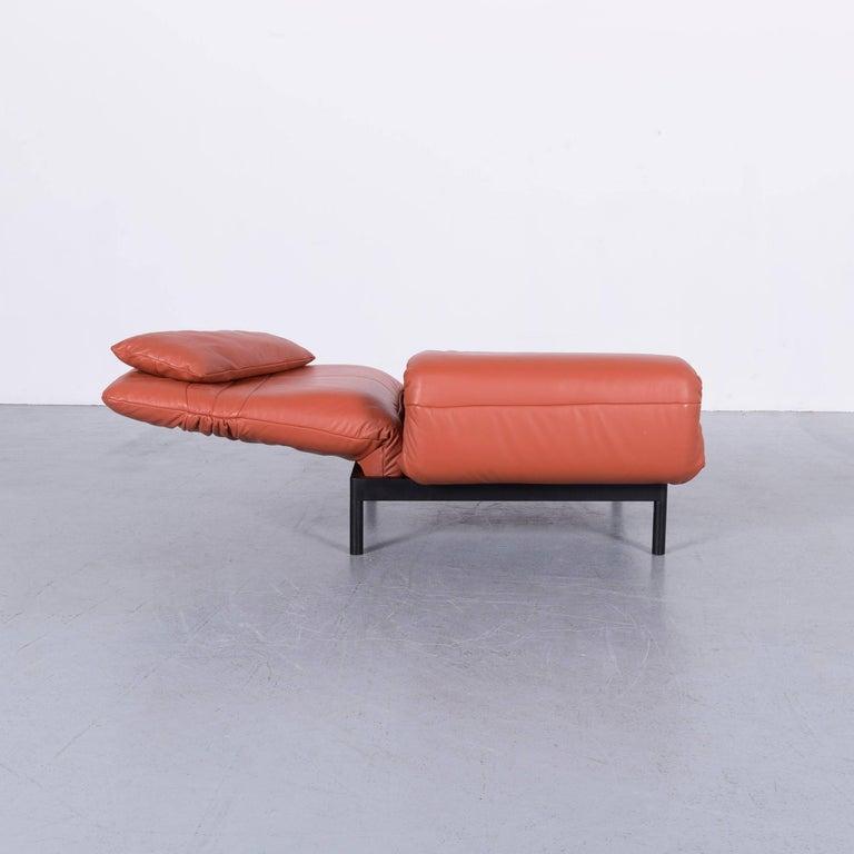 Rolf Benz Plura Designer Sofa Leather Orange Yellow Red Armchairs 14