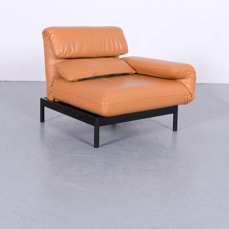 We bring to you an Rolf Benz Plura designer sofa leather orange yellow red armchairs.