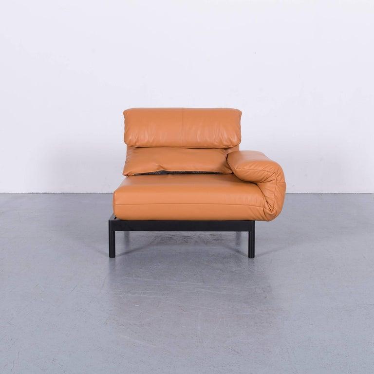 German Rolf Benz Plura Designer Sofa Leather Orange Yellow Red Armchairs