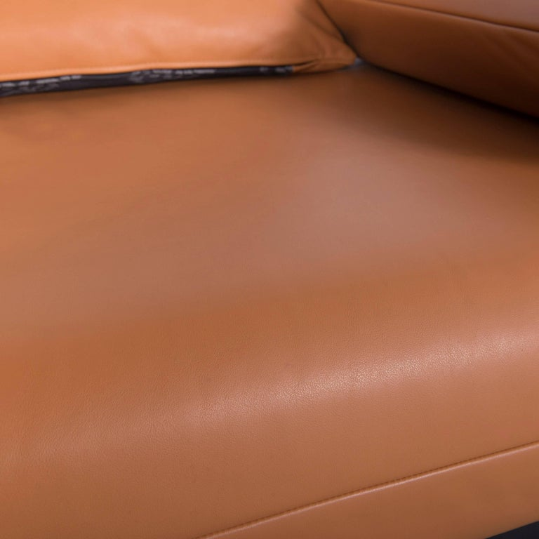 Rolf Benz Plura Designer Sofa Leather Orange Yellow Red Armchairs In Excellent Condition In Cologne, DE