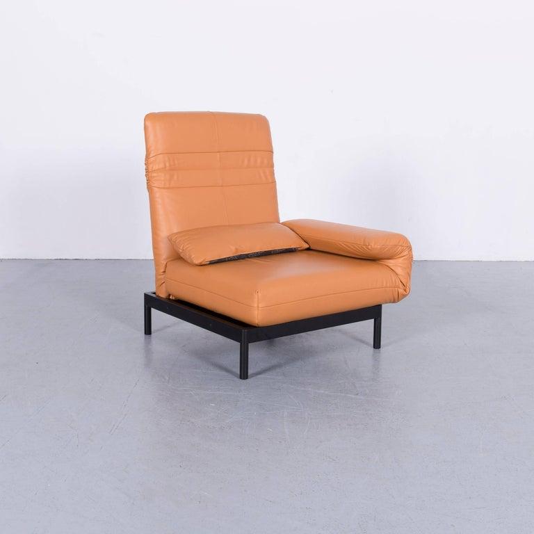 Contemporary Rolf Benz Plura Designer Sofa Leather Orange Yellow Red Armchairs