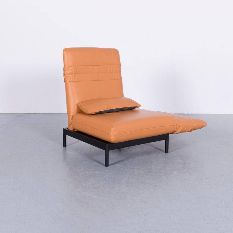 Rolf Benz Plura Designer Sofa Leather Orange Yellow Red Armchairs 1