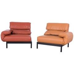 Rolf Benz Plura Designer Sofa Leather Orange Yellow Red Armchairs