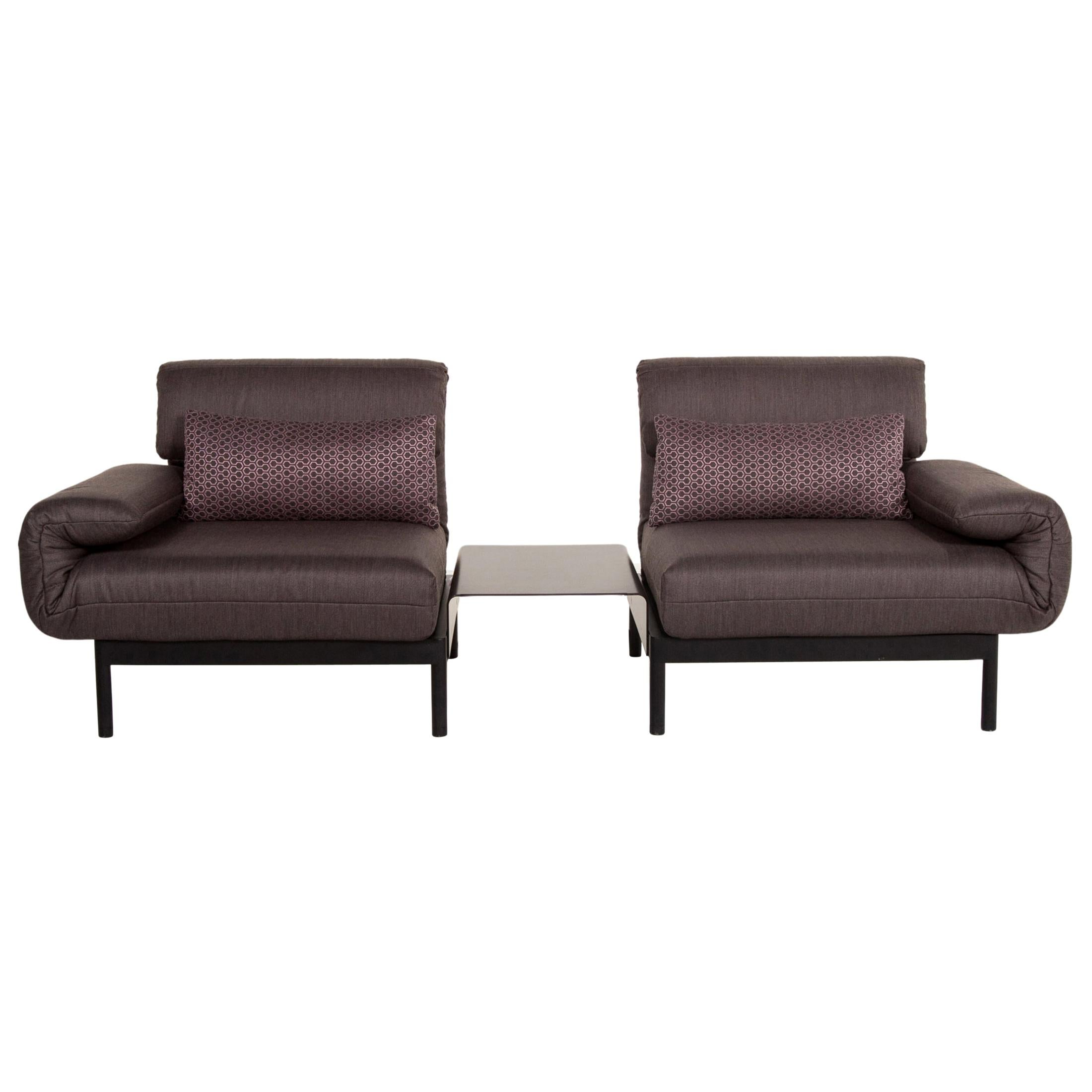 Rolf Benz Plura Fabric Sofa Anthracite Taupe Relax Function Sofa Bed Sleep