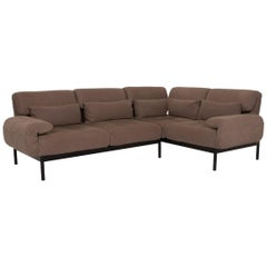 Rolf Benz Plura Fabric Sofa Dark Brown Corner Sofa Relax Function