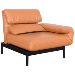 Rolf Benz Plura Leather Armchair Orange Yellow One-Seat Couch