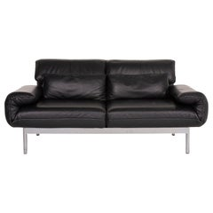 Rolf Benz Plura Leather Sofa Black Two-Seat Function Relax Function Couch