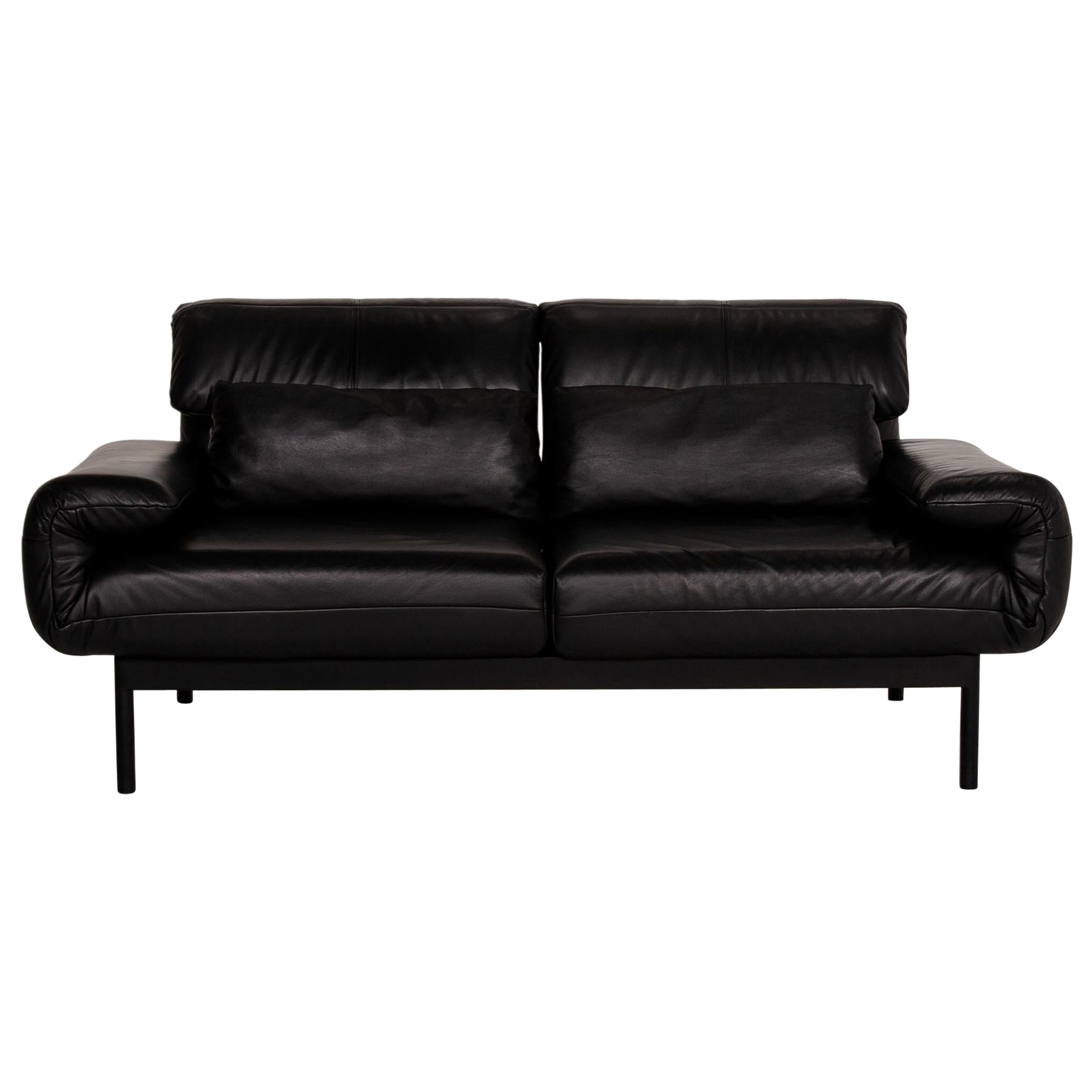 Rolf Benz Plura Leather Sofa Black Two-Seater Couch Function Relaxation Function