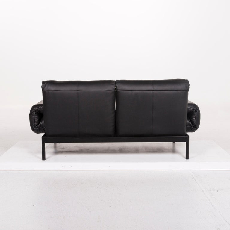 Rolf Benz Plura Leather Sofa Black Two-Seat Function Relax Function Couch For Sale 5