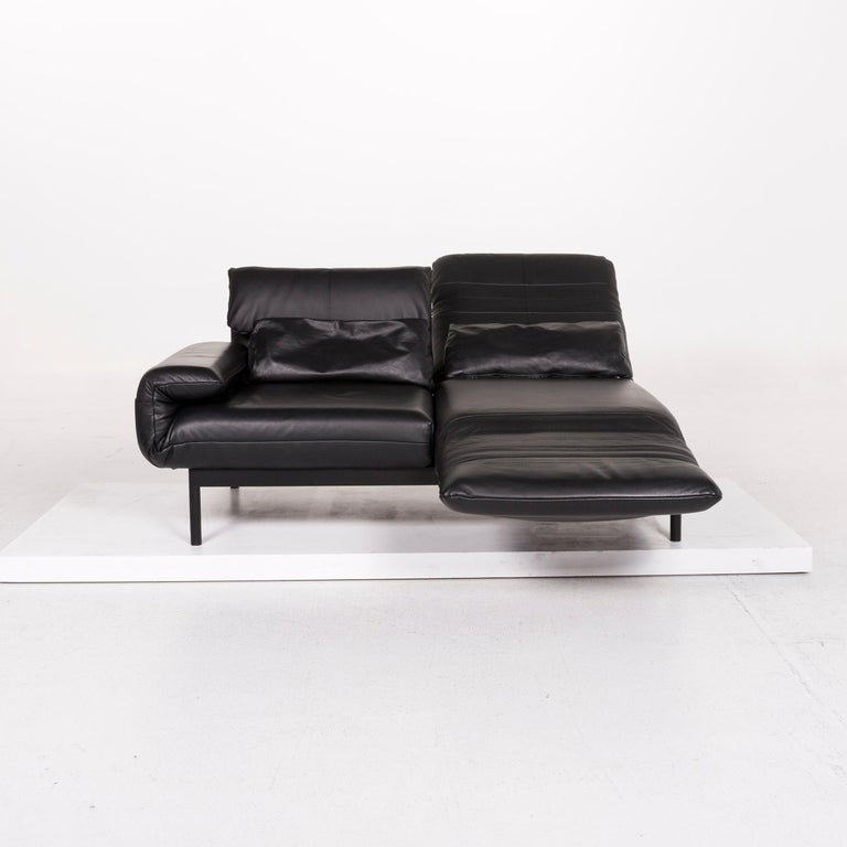 Modern Rolf Benz Plura Leather Sofa Black Two-Seat Function Relax Function Couch For Sale