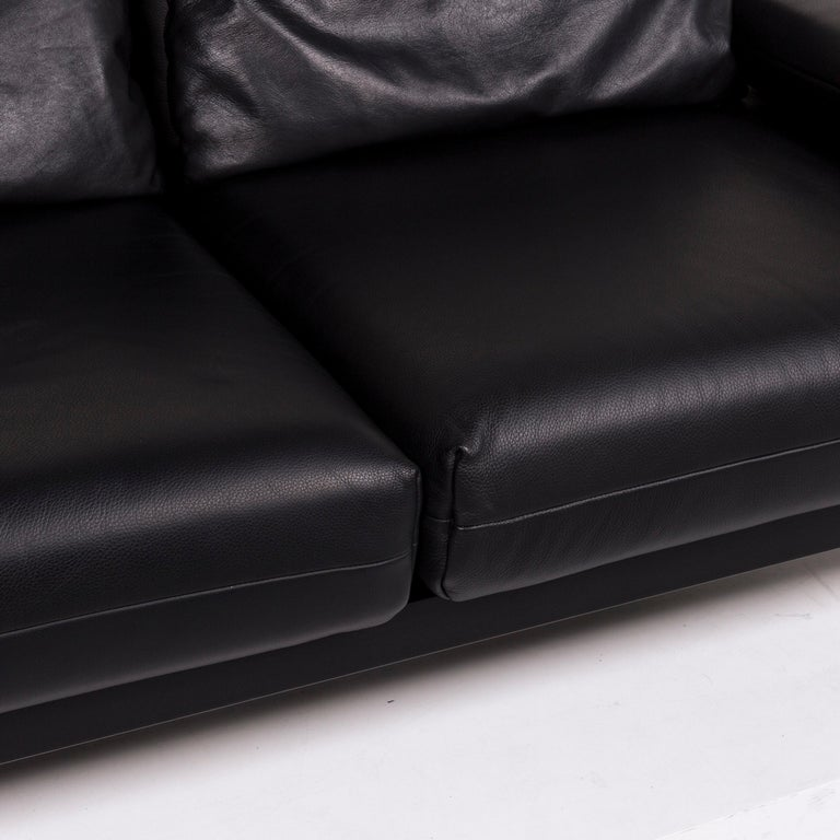 Rolf Benz Plura Leather Sofa Black Two-Seat Function Relax Function Couch In Good Condition For Sale In Cologne, DE