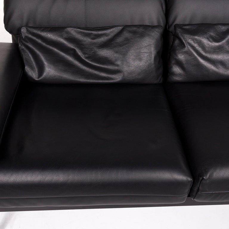 Contemporary Rolf Benz Plura Leather Sofa Black Two-Seat Function Relax Function Couch For Sale