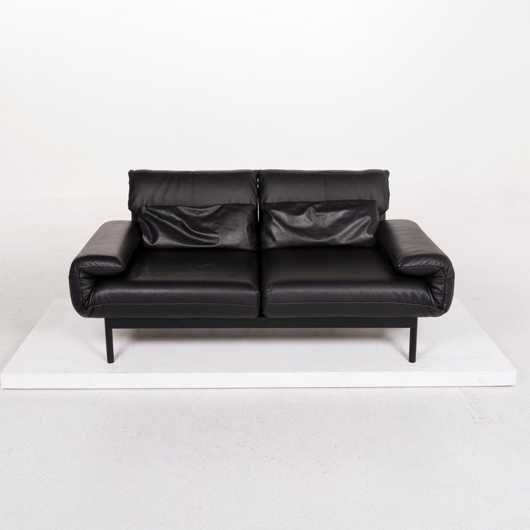 Rolf Benz Plura Leather Sofa Black Two-Seat Function Relax Function Couch For Sale 3