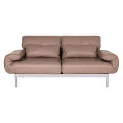 Rolf Benz Plura Leather Sofa Brown Two-Seater Function Reclining Function