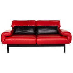 Rolf Benz Plura Leather Sofa Red Black Two-Seat Function Relax Function Couch