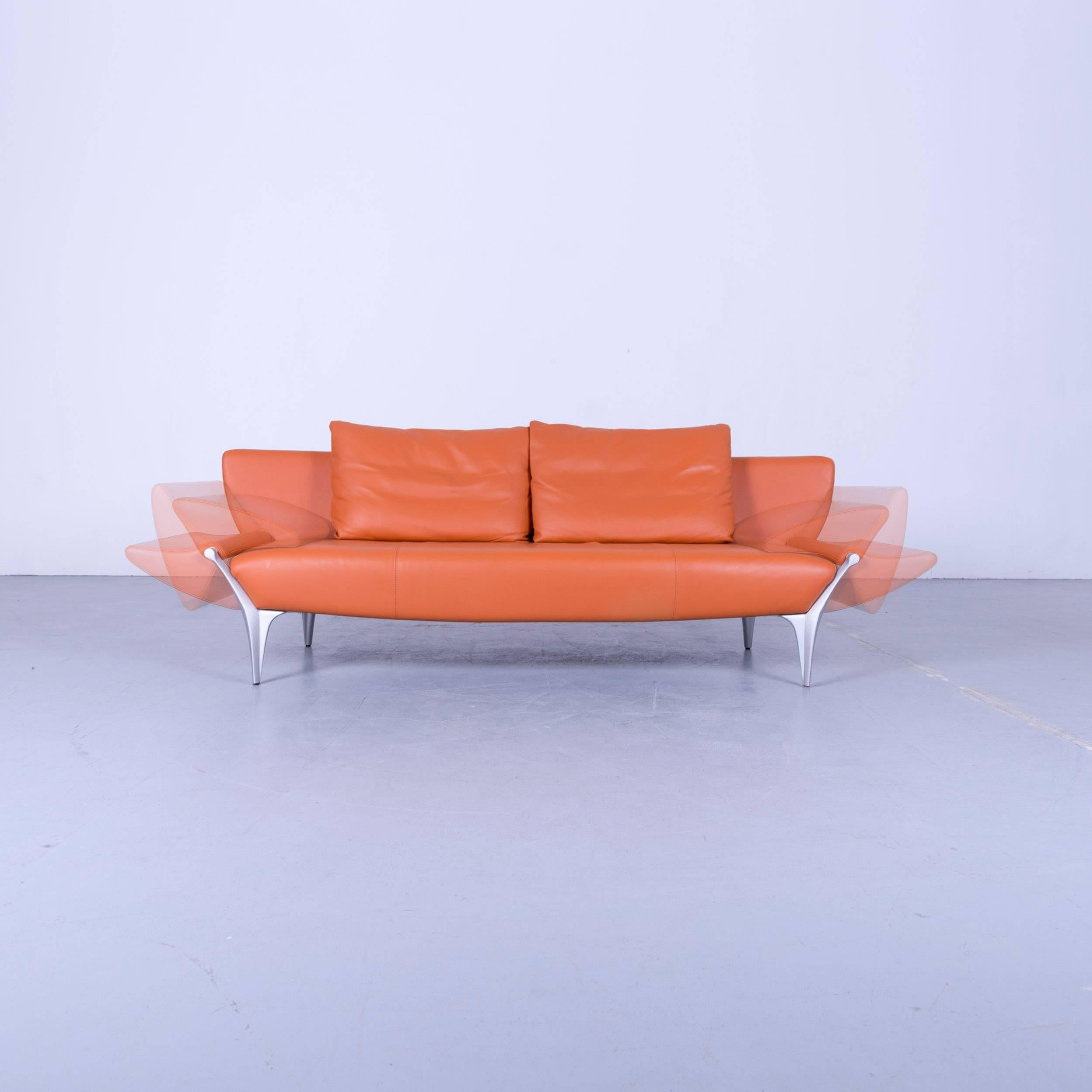 comfortable rolf benz sofa. Rolf Benz Sob 1600 Designer Sofa Leather Orange Three-Seat Function Couch Modern At 1stdibs Comfortable