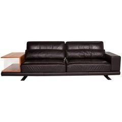 Rolf Benz Vero Leather Sofa Brown Dark Brown Three-Seat Table Shelf