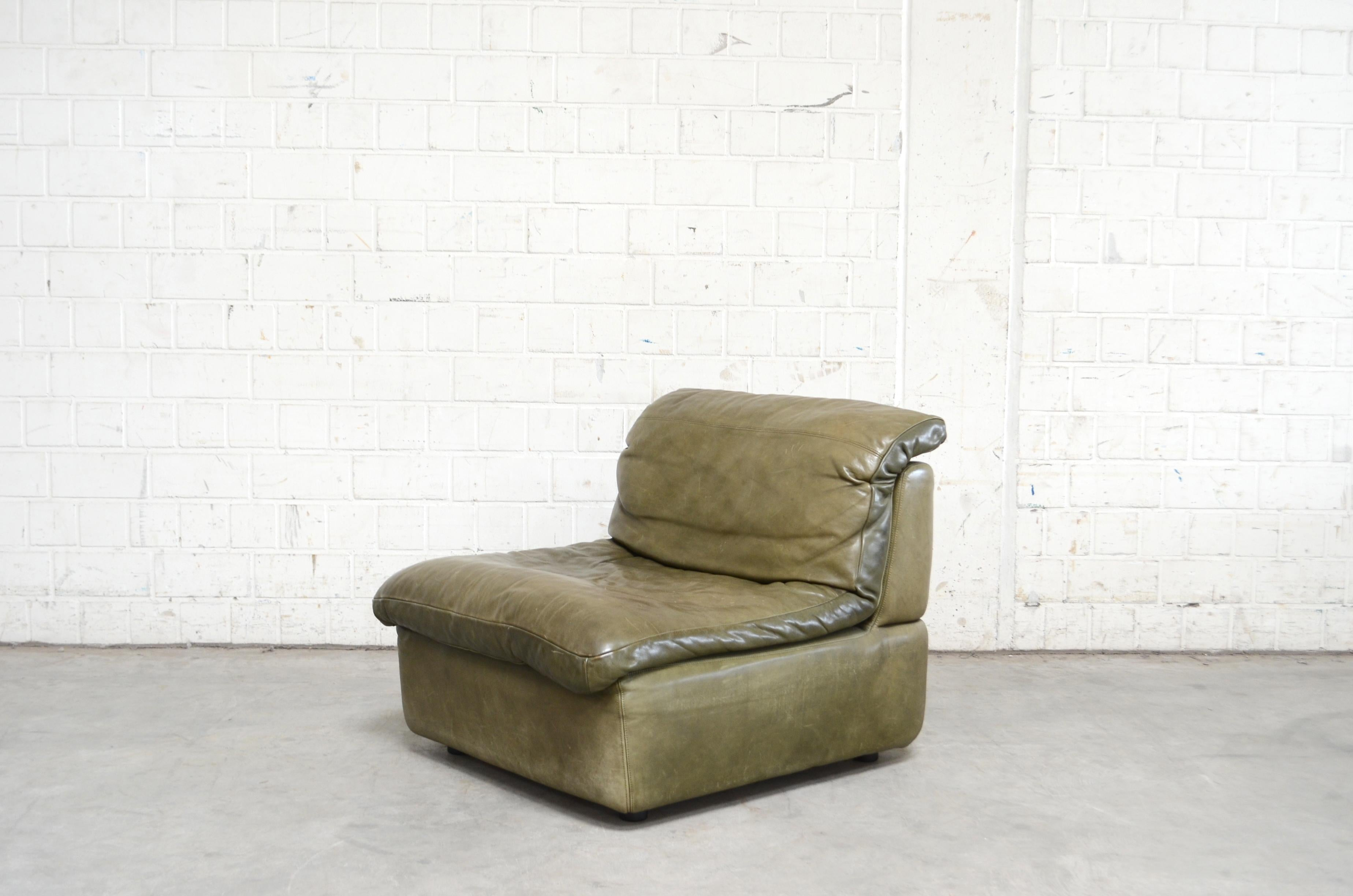 Rolf Benz Vintage Modular Green Leather Lounge Sofa, Germany, 1970 ...