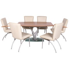 Rolf Benz Wood Glass Leather Dining Room Set Extendable 1 Table 6 Chair